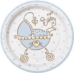 Baby Shower Blue Paper Snack Plates (8 pack)