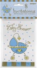 Baby Shower Blue Party Invitations (8 pack)