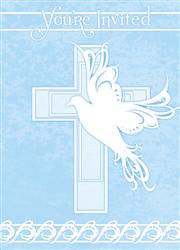 Dove Cross Blue Invitations (8 pack)