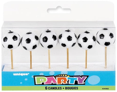 Soccer Ball Pick Candles - (6 pack)