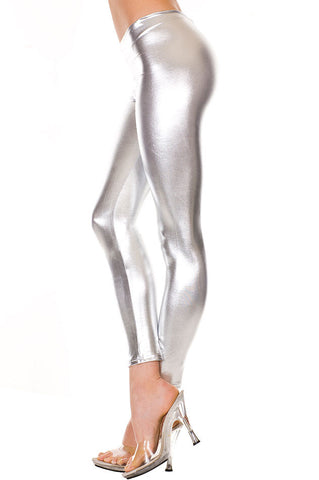 Metallic Shiny Leggings - Silver