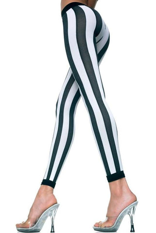 Opaque Black & White Vertical Striped Leggings