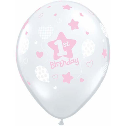 1st Birthday Clear Pink Latex Balloons - (6 pack)