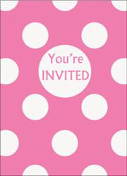 Dots Invitation Packs - 8 pack - Hot Pink