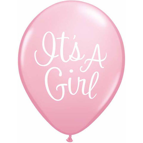 It's A Girl Classy Script Latex Balloons (8 pack)