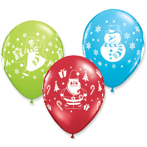 Assorted Christmas Latex Balloons (8 pack)