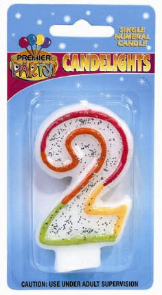 Number 2 - Rainbow Candle