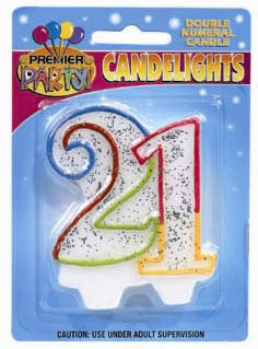 Number 21 Rainbow Candle