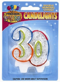 Number 30 Rainbow Candle