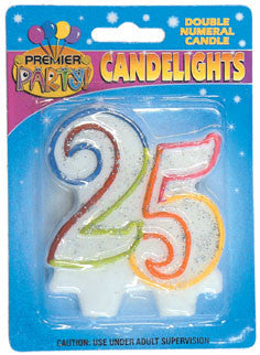 Number 25 Rainbow Candle