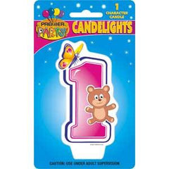 1st Birthday Animals Party Candle - Pink