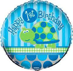 1st Birthday Blue Turtle Foil Balloon - 46cm