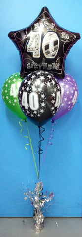 40 Star Foil & 3 Printed Balloon Arrangement - Stacked