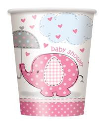 Pink Umbrella Elephants - Paper Cups (8 pack)