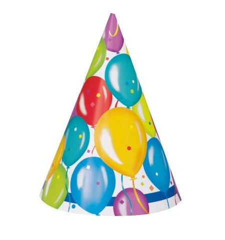 Balloon Birthday Party Hats (8 pack)
