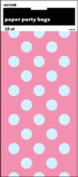 Dots Paper Party Loot Bags - 12 pack - Hot Pink