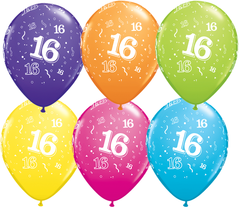 16th Birthday Latex Balloons - (6 pack)