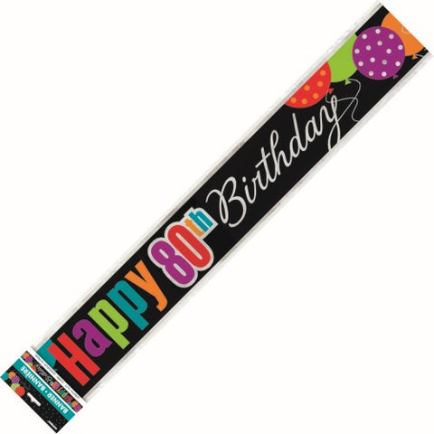 80th Birthday Cheer Foil Banner - Foil (3.6m)