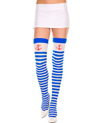 Opaque Blue Stripe Thigh Hi With Red Anchor