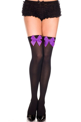 Opaque Thigh Hi With Satin Bow - Black With Purple Bow