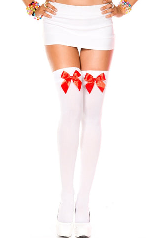 Opaque Thigh Hi With Satin Bow - White With Red Bow