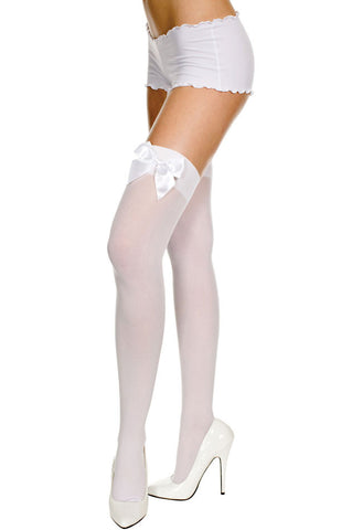 Opaque Thigh Hi With Satin Bow - White With White Bow