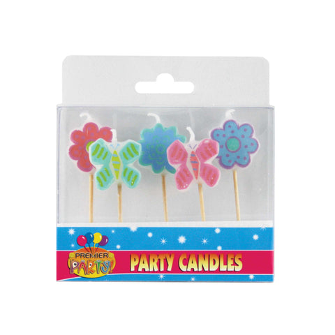 Flower & Butterfly Pick Candles (5 pack)