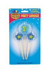 1st Birthday Pick Candles - Blue