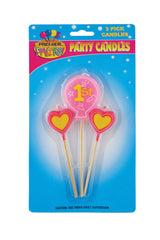 1st Birthday Pick Candles - Pink