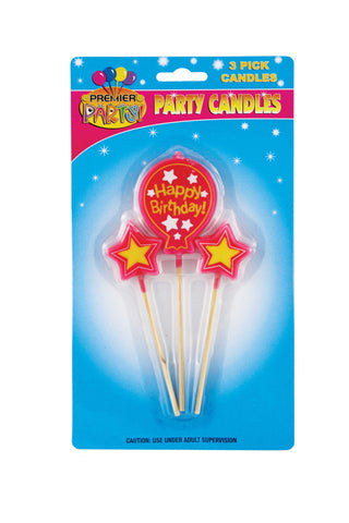 Birthday Ballon Pick Candles - Pink