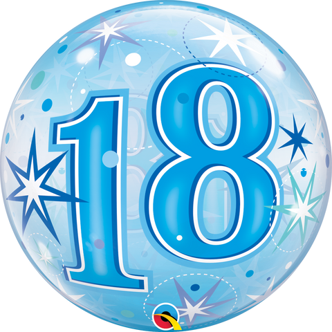 "18 Blue Starburst Bubble Balloon - 22""/55cm"