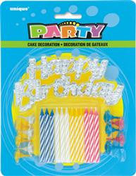 Candles & Holders & Happy Birthday Cake Topper (12 pack)