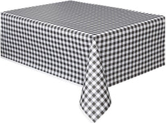 Black Gingham Plastic Table Cover