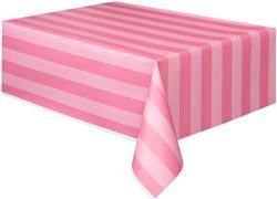 Pink Striped Plastic Table Cover