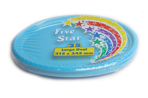 Electric Blue Plastic Large Oval Plates (25 Pack)