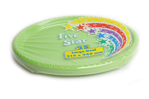 Lime Green Plastic Large Oval Plates (25 Pack)