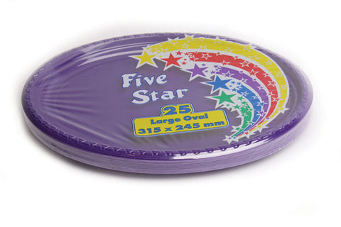 Purple Plastic Large Oval Plates (25 Pack)