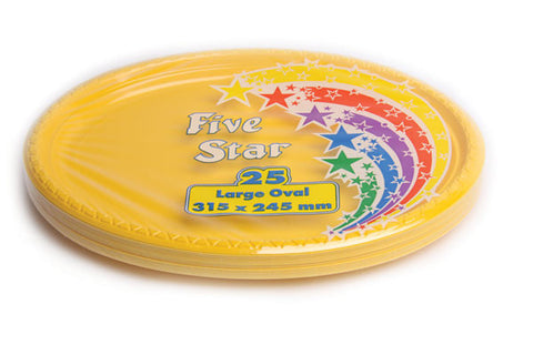 Yellow Plastic Large Oval Plates (25 Pack)