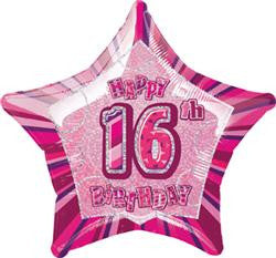Glitz Pink - 16th Birthday Star Foil Balloon - 50cm