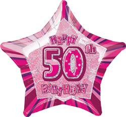 Glitz Pink - 50th Birthday Star Foil Balloon - 50cm