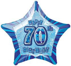 Glitz Blue - 70th Birthday Star Foil Balloon - 50cm