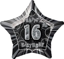Glitz Black & Silver - 16th Birthday Star Foil Balloon - 50cm