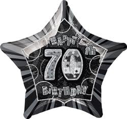 Glitz Black & Silver - 70th Birthday Star Foil Balloon - 50cm