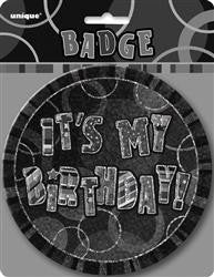 Glitz Black & Silver Birthday Badge - 15cm