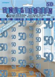 Glitz Blue Hanging Decorations - 50 (6 pack)