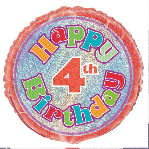 4th Birthday Prismatic Foil Balloon - 45cm