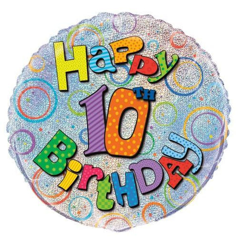 10th Birthday Prismatic Foil Balloon - 45cm