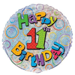 11th Birthday Prismatic Foil Balloon - 45cm