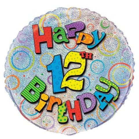 12th Birthday Prismatic Foil Balloon - 45cm