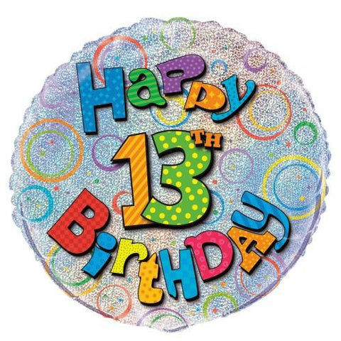 13th Birthday Prismatic Foil Balloon - 45cm